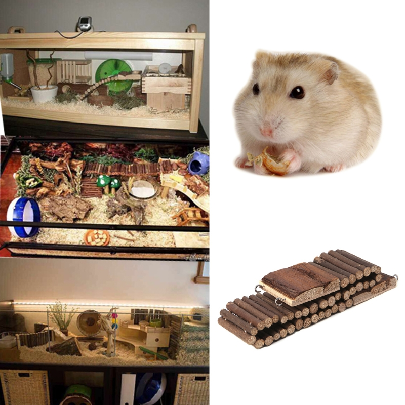 Natural Wooden Flexible Climbing Ladder Bridge Stair For Pet Mouse Hamster Rat 85WC