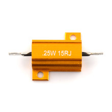 RX24 25W 15R 15RJ Penghambat Daya 25Watt 15 Ohm Power Heatsink Tahan Golden Wastafel Panas Resistor Metal Shell aluminium Emas(China)