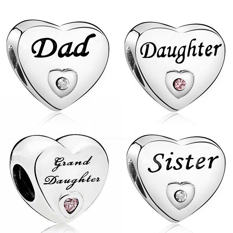 Шарм для дочери, любви, папы, подходят для оригинального браслета Pandora, шармы для женщин, лучшие друзья, сердца, бусины для изготовления ювели...