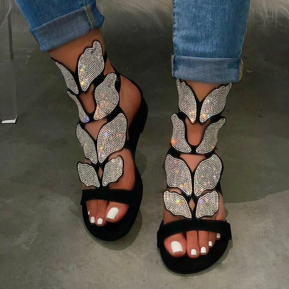 Fashion Women Sandals Shiny Sequins 2020 Summer Outdoor Beach Open Toe Flat Heel Causal Rhinestone Ladies Shoes Plus Size
