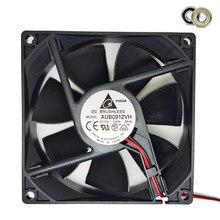 Novo original para delta afb0912vh = aub0912vh 9225 12 v 0.60a 2 fios axial ventilador de refrigeração dupla bola
