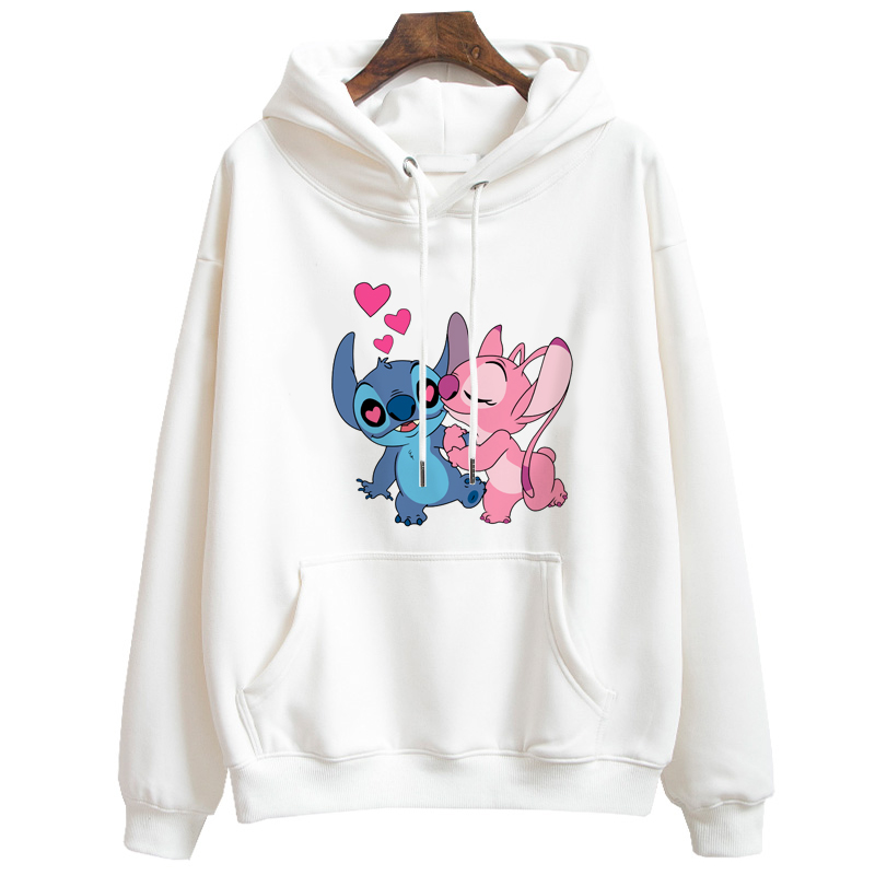 Women's Hoodies Sweatshirts Cute Lilo Stitch Cartoon Hooded Sweatshirts Men Long Sleeve Korean Tops Casual Hoody For Girl Boy