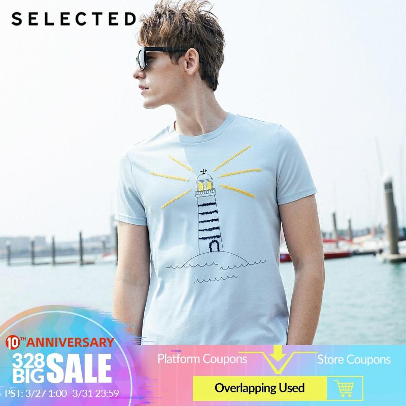 SELECTED Men's Summer 100% Cotton Embroidery Print Short-sleeved T-shirt S|419201501