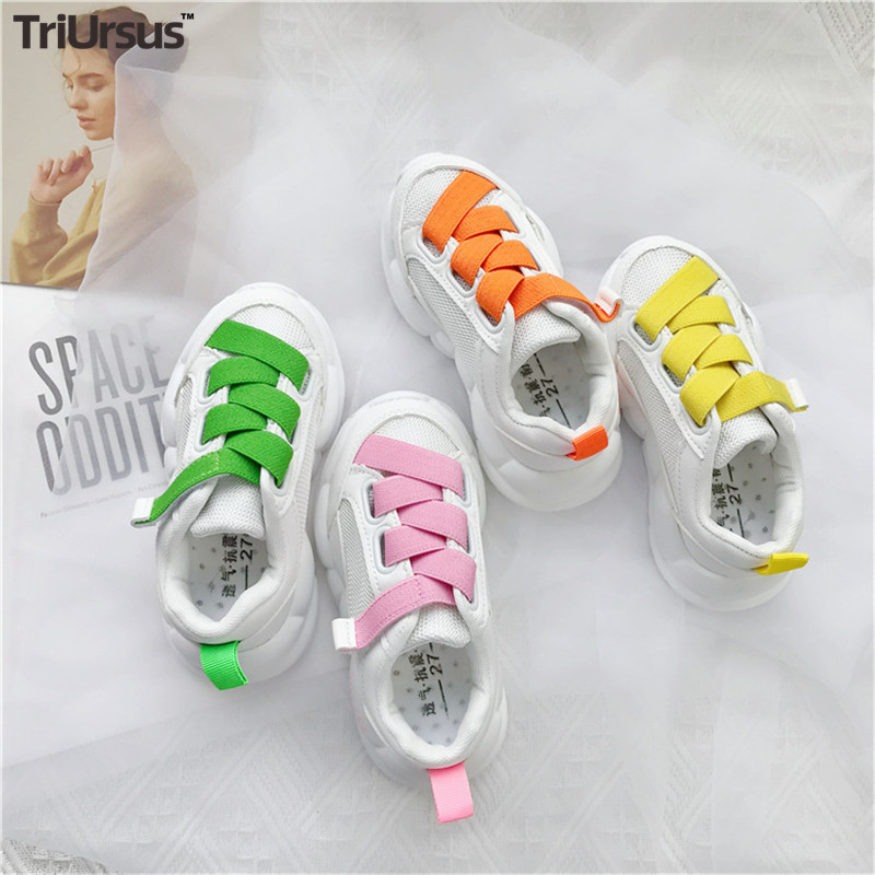 Triursus Brand New Fashion Toddler Girls Shoes Sporty Children Sneakers Net Fabric Cross-Tied Kids Girls Flats For 3T 4T 5T 6T