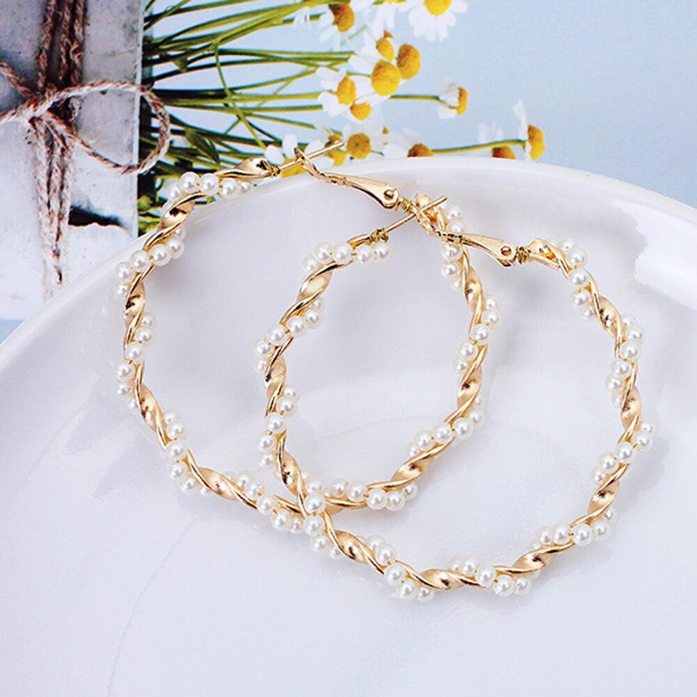 Oversize Pearl Hoop Earrings