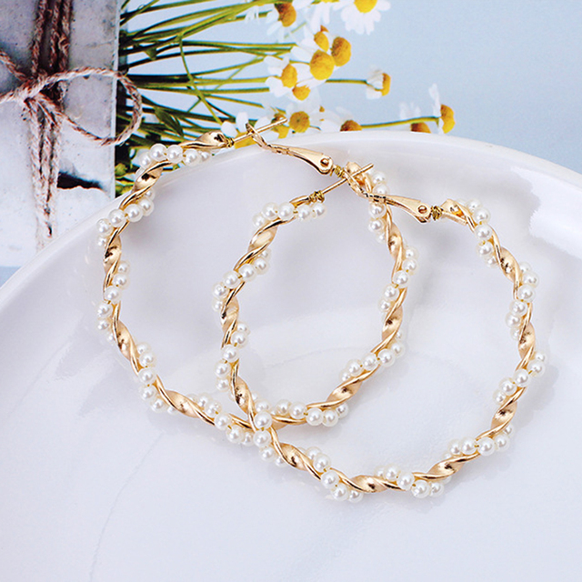 Oversize Pearl Hoop Earrings