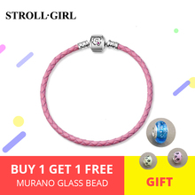 2019 Hot sale 925 Sterling Silver Charm Pink Leather rope Bracelets with red CZ diy for fashion jewelry womens girl accessories