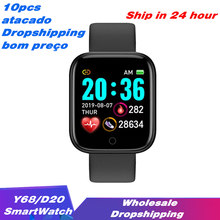 Atacado link 10pc y68 relógio inteligente das mulheres dos homens de fitness rastreador pressão arterial d20 esporte smartwatch para android ios