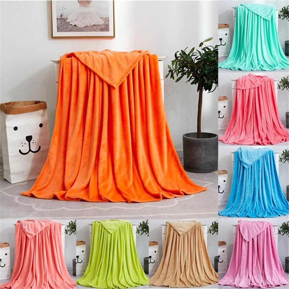 Soft Warm Coral Fleece Flannel Blankets For Beds Faux Fur Mink Throw Solid Color Sofa Cover Bedspread Winter Blankets