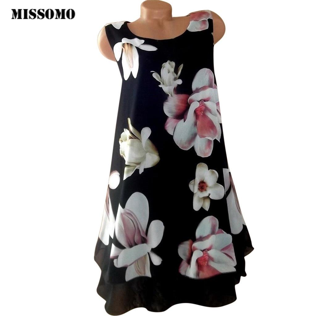 MISSOMO Summer Dress Women Casual Chiffon O-Neck Floral Print Sleeveless Patchwork  Beach Tank Dress Plus Size 5XL Women 716