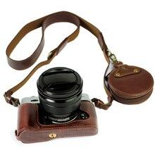 المحمولة بو الجلود حالة حقيبة الكاميرا ل فوجي فيلم XT10 X T20 XT20 X T30 XT30 أسفل الغطاء الواقي قذيفة مع بطارية افتتاح