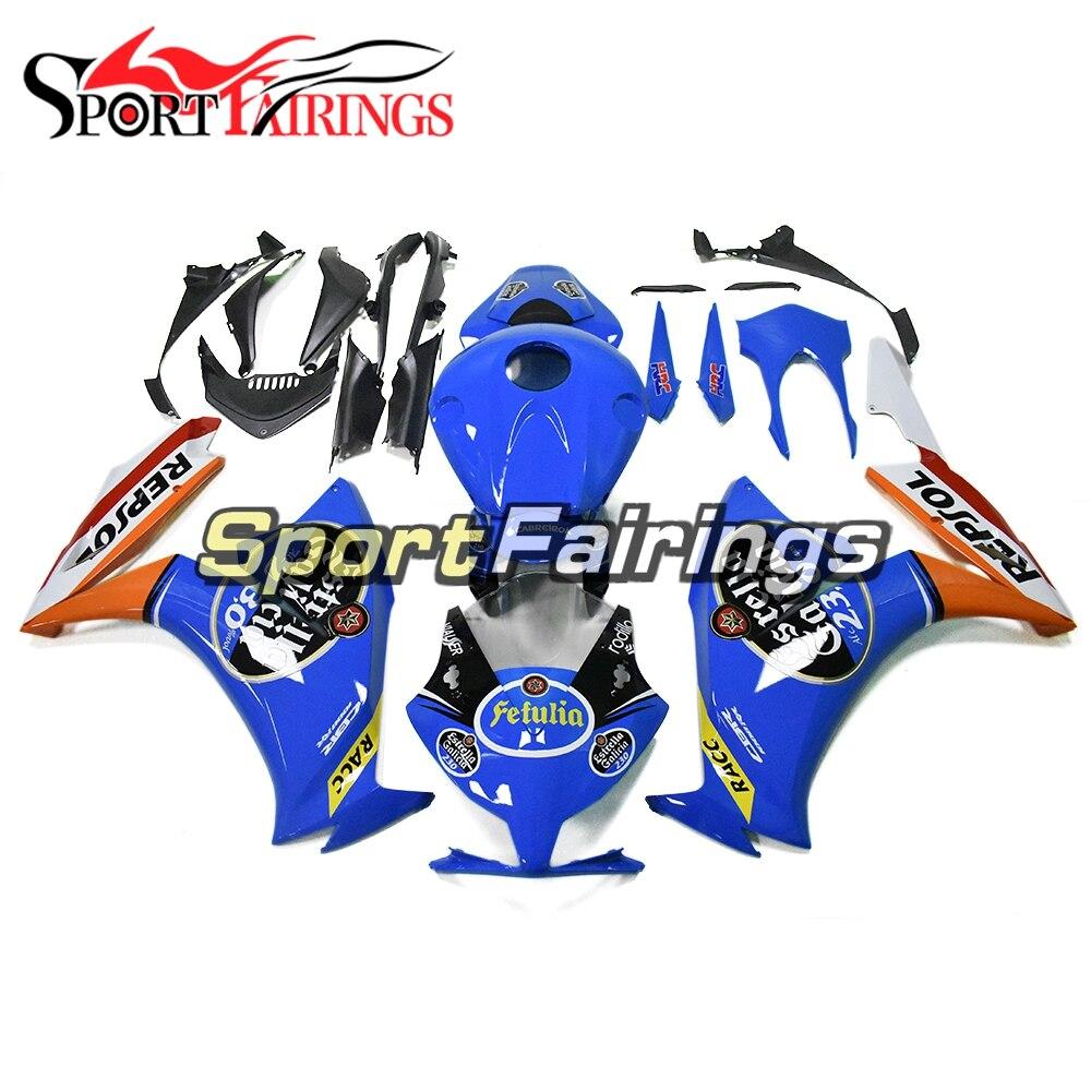 Panneaux pour Honda CBR1000RR 2012 2013 2014 2015 16 carénages d'injection plastique ABS Kit carrosserie moto Repsol bleu Orange