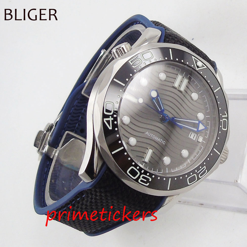 Automatic movement 41mm gray wave dial sapphire glass black ceramic bezel men's watch rubber strap date