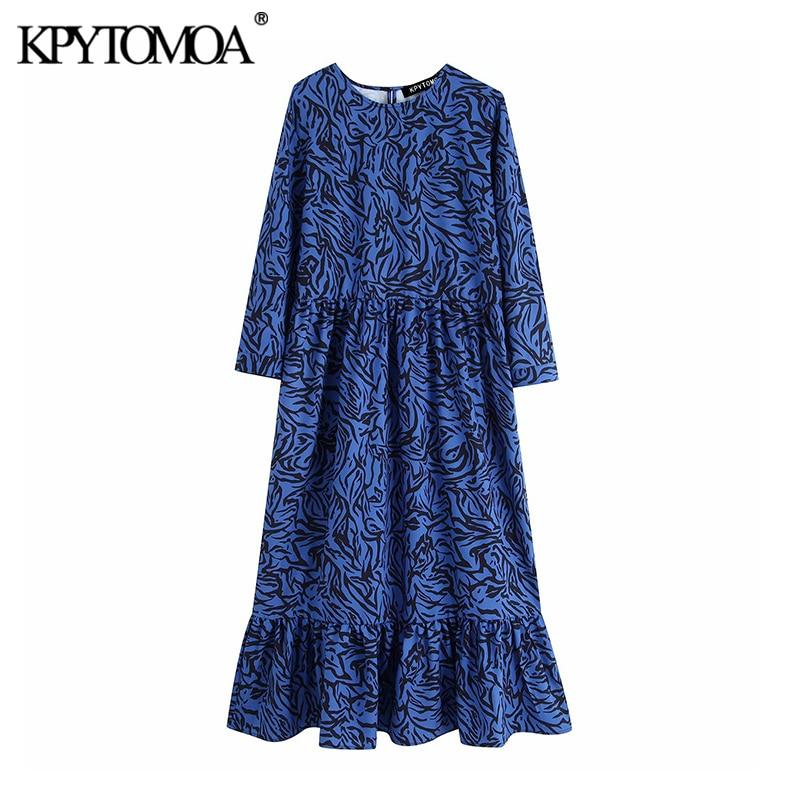 Vintage Stylish Animal Print Pleated Midi Dress Women 2019 Fashion O Neck Three Quarter Sleeve Female Dresses Vestidos Mujer