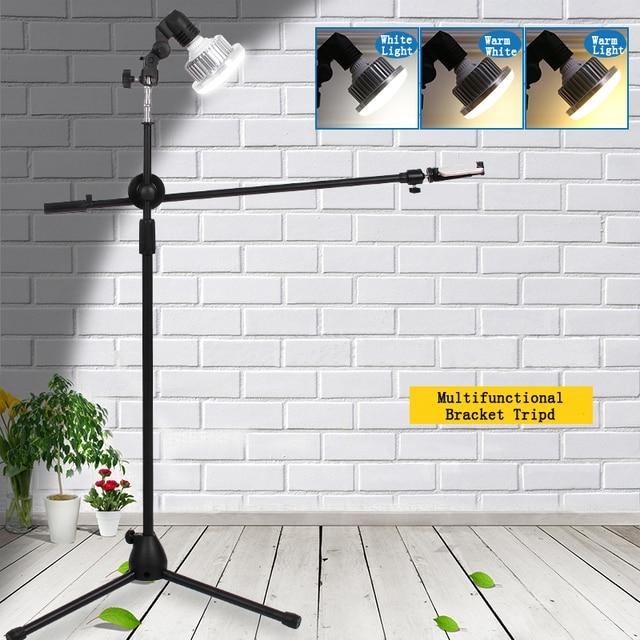 写真写真電話スタジオライブビデオ撮影キット調整可能な1.3メートルの床三脚ブラケットスタンドブームアーム35ワットled補助光