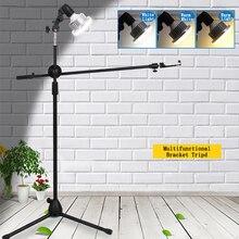 Fotoğraf fotografik stüdyo telefonu canlı Video çekim kiti ayarlanabilir 1.3M zemin Tripod braketi standı Boom kol 35W LED dolgu ışığı