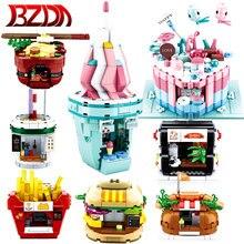 BZDA Creator Food Store Street View Building Blocks Burger House gelato torta modello patatine fritte case mattoni regali per ragazze giocattoli
