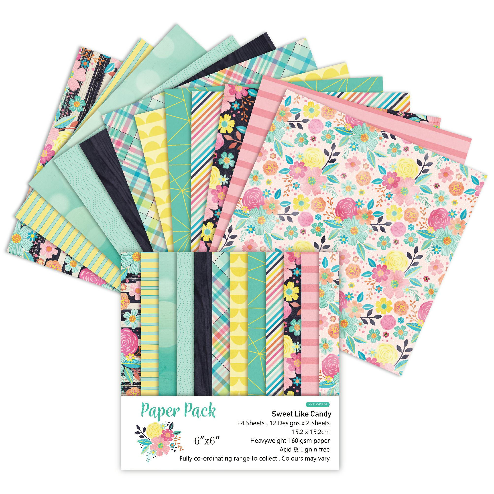 DIY Sweet Like Candy Style Scrapbooking Paper Pack Of 24 Sheets Handmade Craft Paper Craft Background Pad
