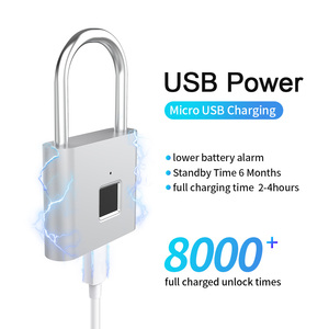 Image 2 - TELESIN Fingerprint Lock Keyless USB Rechargeable Smart Padlock Quick Unlock Zinc Alloy Metal Security For Door Luggage Bag