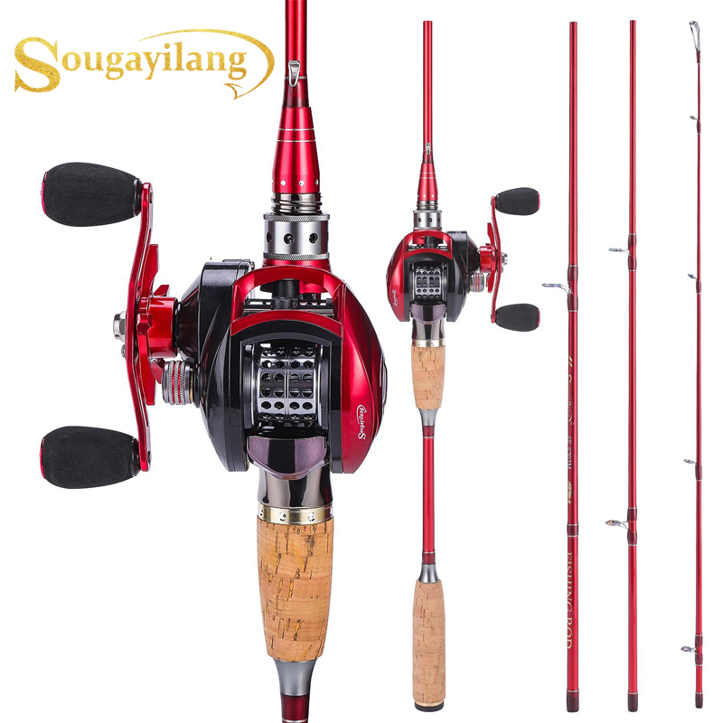 Sougayilang 2.1m 2.4m Carbon Fishing Rod Baitcast Reel Combo Portable Casting Fishing  Pole With 12+1BB Baitcasting Reel Kit