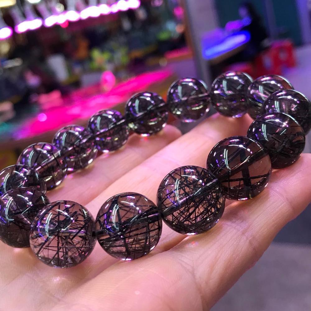 Image 2 - 15mm Genuine Brazil Natural Black Rutilated Quartz Crystal Clear Big Round Bead Woman Men Bracelets AAAAABracelets & Bangles   -