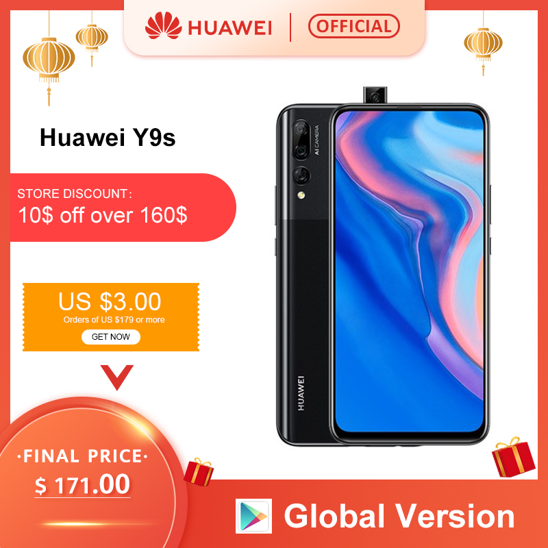 "Global Version Huawei Y9 Prime 2019 Smartphone AI Triple Rear Cameras 4GB 128GB Auto Pop Up Front Camera 6.59"" Cellphone"