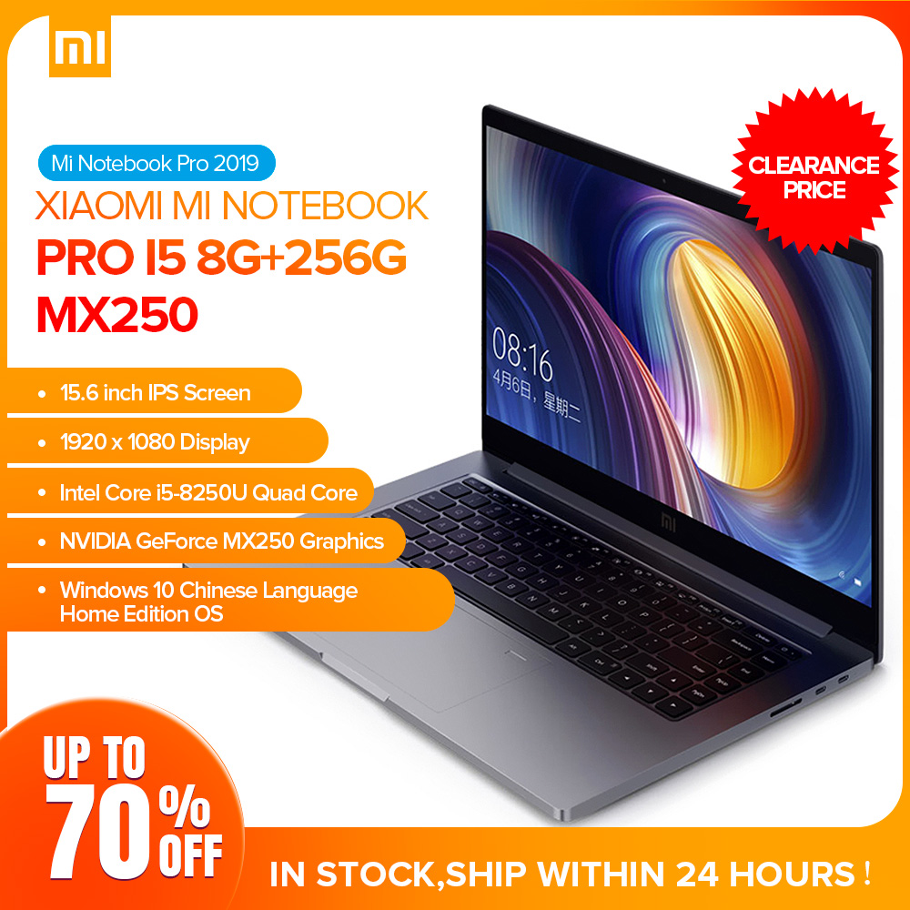 Xiaomi Mi Pro Laptop 15.6 Inch Windows 10 Notebook I5-8250U Quad Core 8GB RAM 256GB SSD GeForce MX250 PC