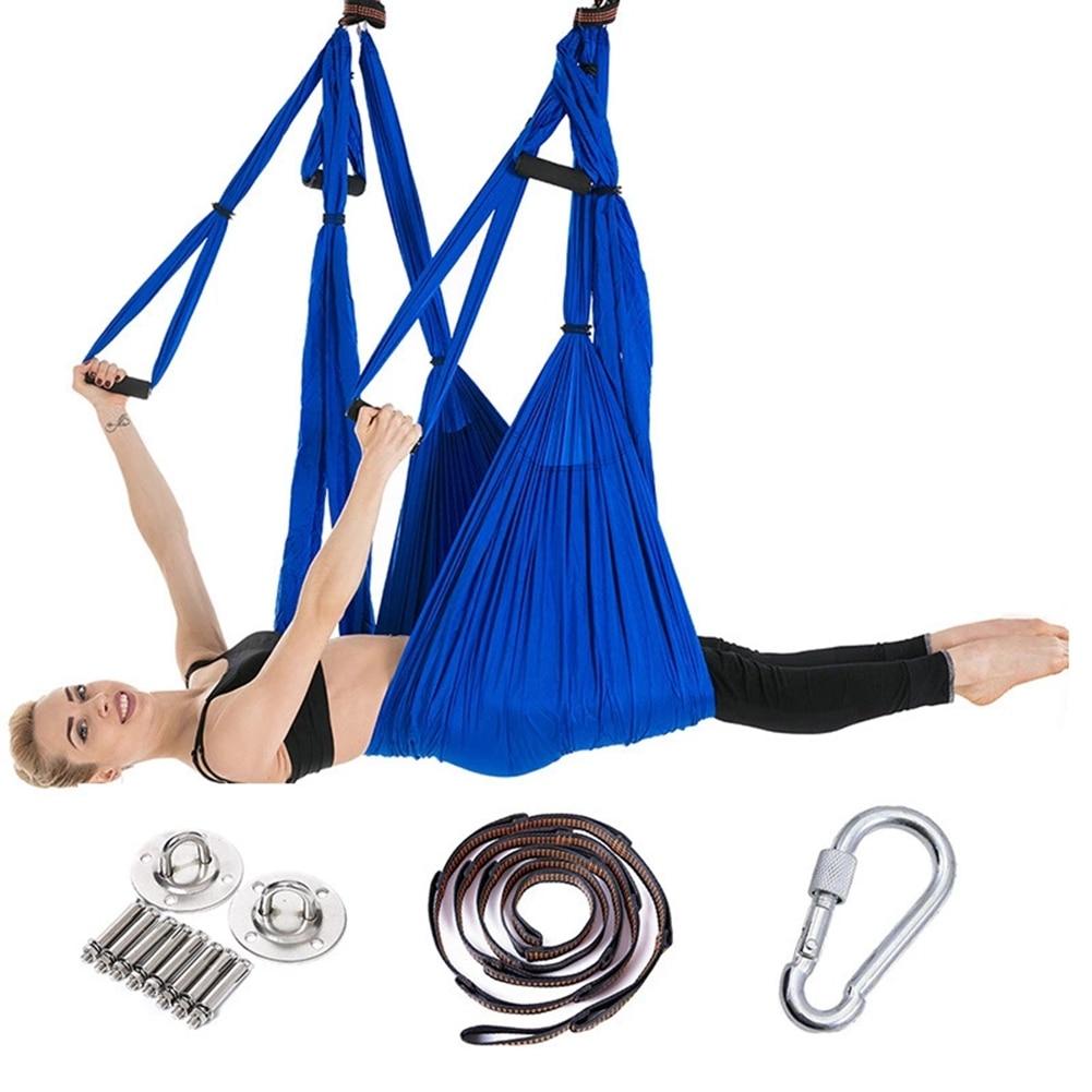 Full Set 2.5*1.5m Aerial Yoga Hammock Anti-Gravity Nylon Flying Swing Pilates Home GYM Hanging Belt Ceiling Plates