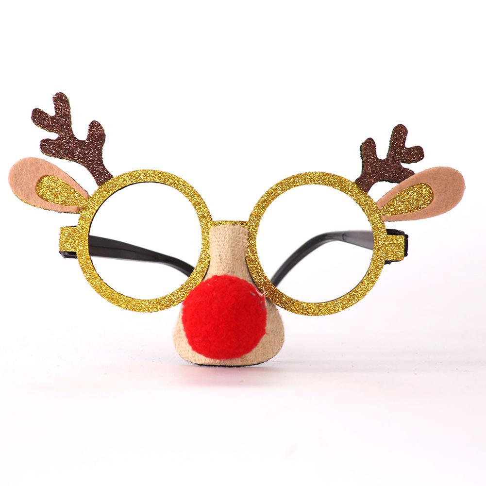 Kuulee Christmas Glasses Children's Eyeglasses Frame Antlers Snowman Frame Santa Claus Decorations Plastic+cotton Glasses