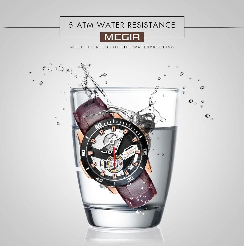 H116ba115ecf34da580da7945ac920661g MEGIR Men Mechanical Wristwatches Leather Strap Automatic Mechanical