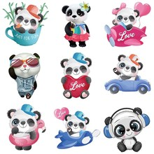 appliques thermo stickers on clothes Cute panda stripes Iron-on transfers for clothing heat-sensitive patches heat transfer