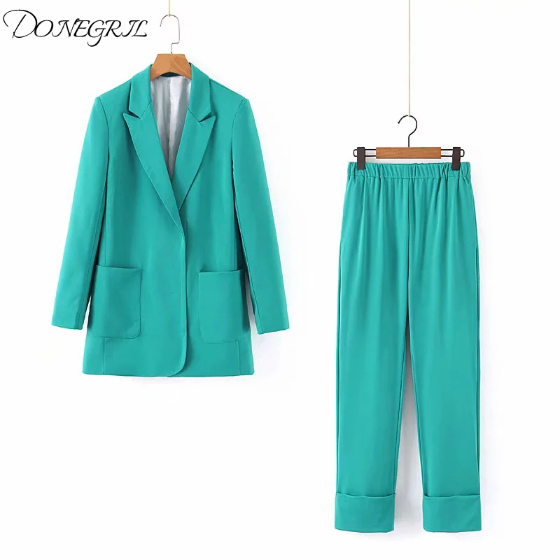 2020 Autumn Two Piece Suit Set Lady Formal Blazer Jacket Women Straight Pant Suits Green Office Sets