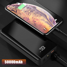 50000mAh Power Bank large capacity LED mirror two-way fast charge for Iphone Xiaomi mobile phone mobile power