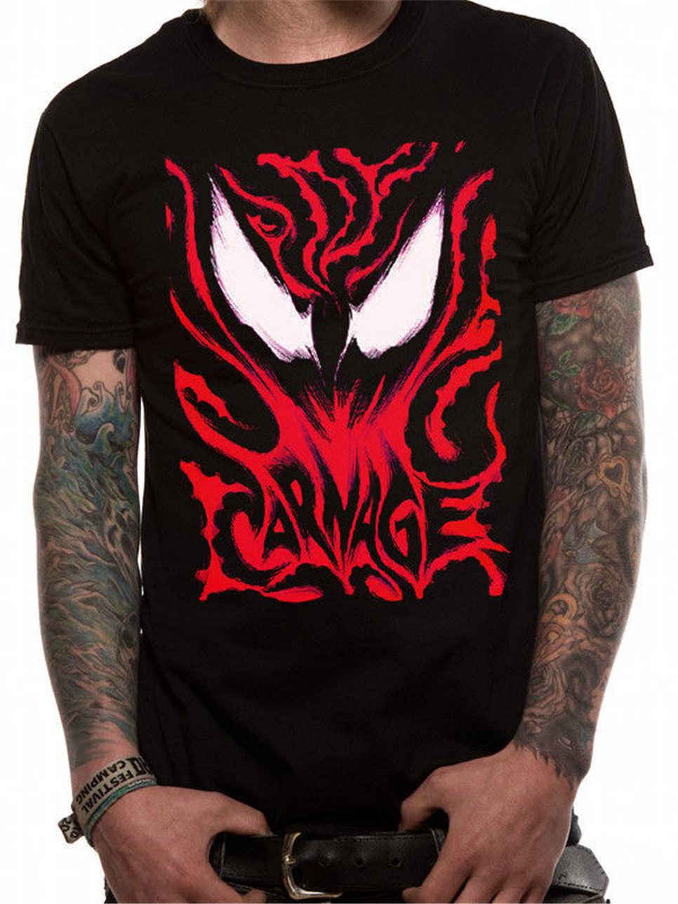 Carnage Face Venom комиксы Marvel Человек-паук Черная Мужская футболка уличная забавная футболка