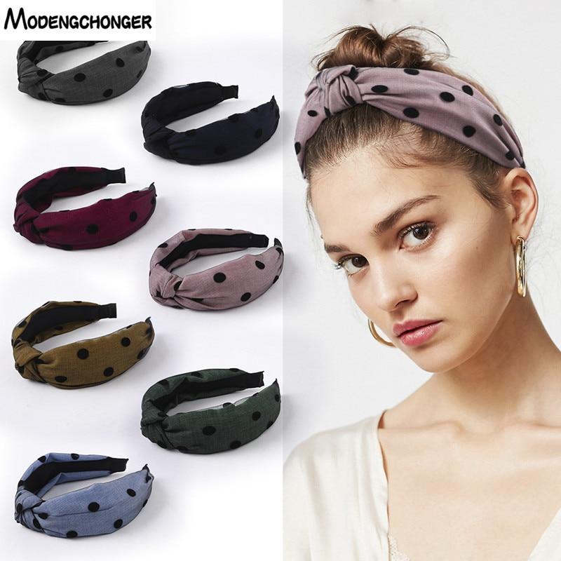 1PCS Fashion Women Girls Sweet Headband Hairband Fabric Lace Yarn Dot Cross Knotted Wide Side Hair Accessories Headwear Hot