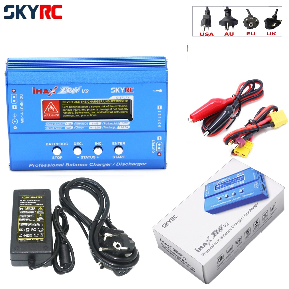 Original SKYRC IMAX B6 V2 B6V2 Digital RC Lipo NiMh Battery Balance Charger With AC POWER 12v 5A Adapter for RC Helicopter Toys