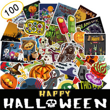 100PCS/set Stickers Halloween Theme Ghost Horror On Laptop Decor For Notebook Pad Door The Fridge Pusheen
