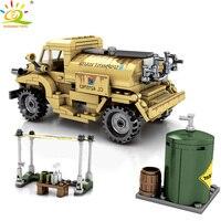 HUIQIBAO 284pcs 육군 캐나다 WW2 트럭 빌딩 블록 어린이 군사 차량 군인 인물 벽돌 자동차 완구