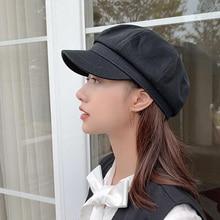 Hat Women Beret-Cap Octagonal-Hat Painter Newsboy Retro Corduroy Korean Solid England