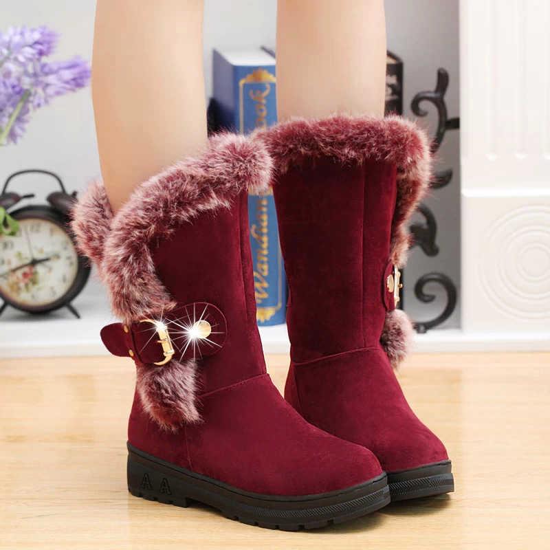 Orta buzağı kış kadın botları kürk ile 2019 sıcak kadın platform ayakkabılar rahat düz martin bayan kar botları bota feminin oymak yeni DT630
