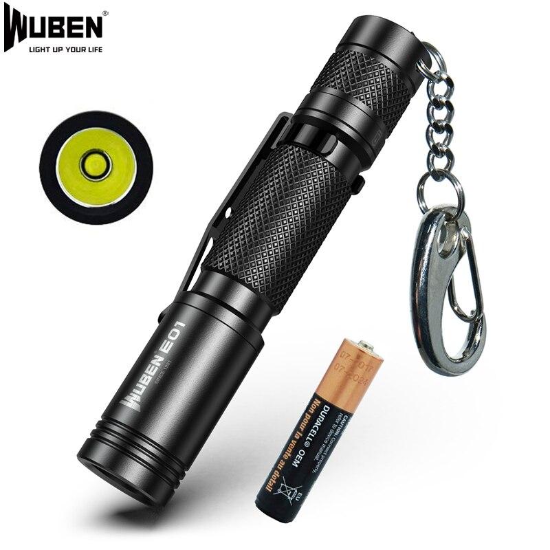WUBEN E01 Mini Keychain Flashlight LED Light CREE XP-G3 Utilized Torch IP68 Waterproof Light Outdoor Mini AAA Battery Flashlight