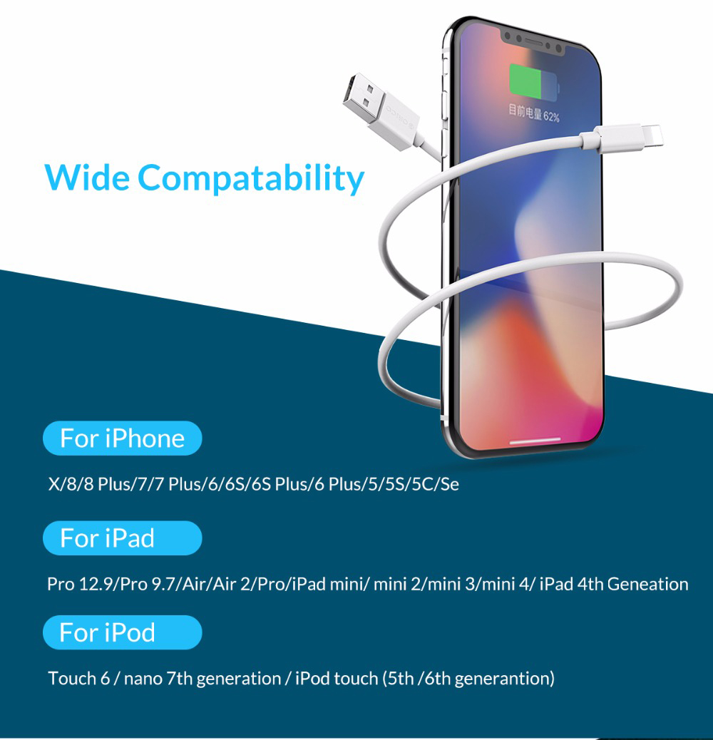 ORICO Premium USB Cable for iPhone to USB Cable Charging USB Cable Data Sync for iphone xr 7 8 White 1m (6)