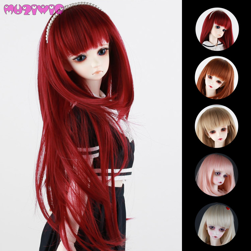 MUZIWIG Synthetic Multicolor Choose Long Straight Doll Wig Hair With Full Bangs For Bjd 1/3 1/4 1/6 SD Dolls Wigs Accessories