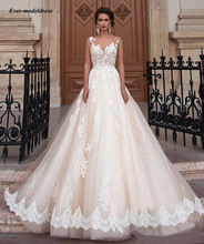 Gorgeous Champagne Lace Tulle Wedding Dresses A Line 2019 Illusion Gowns robe de mariage