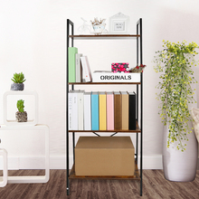 Bookcase Display Book Organiser Stand Storage Cabinet Rack Cube Storage Unit 4 Tier Wooden Shelf For Living Room Office HWC