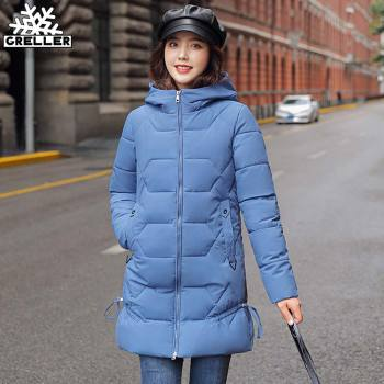 GRELLER 2020 New Long Parkas Female Solid Thick Winter Jacket Women Plus Size 4XL Hooded Cotton Padded Loose Winter Coat Women women s thick warm long winter jacket women parkas hooded cotton padded winter coat female