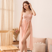 New Sling nightdress female summer sexy split lace lingerie perspective thin long sleep wear suit