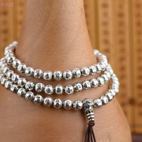 Sterling Silver Ladies 108 Buddha Beads Hand Strings s925 Antique Style DIY Making Handstring