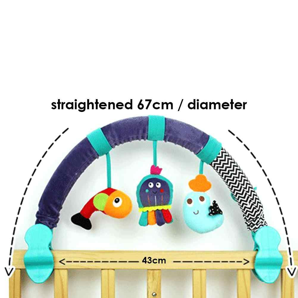 Bebê pendurado brinquedos carrinho de criança cama berço para arco pingente animal-forma brinquedos assento de pelúcia carrinho de criança móvel acessórios