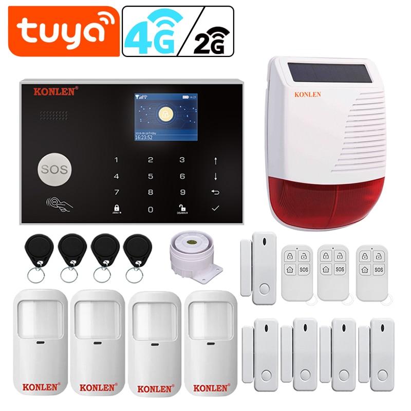 Tuya wi fi inteligente 2g/4g 3g gsm kit sistema de alarme segurança em casa sem fio com fio com google alexa câmera ip casa proteção